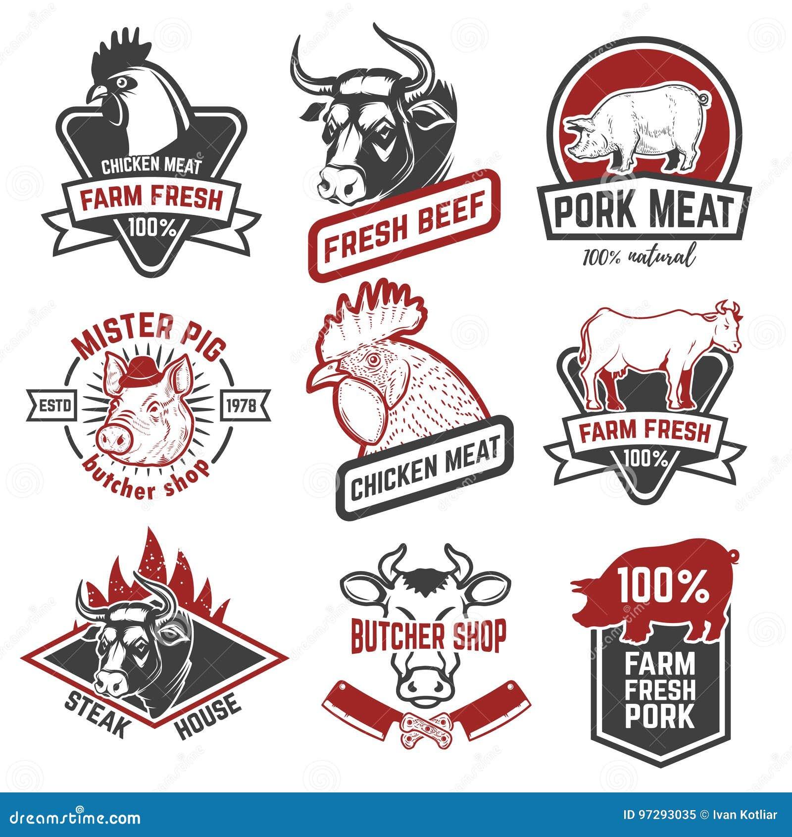 Nötkött höna, etiketter för grisköttkött på vit bakgrund Design