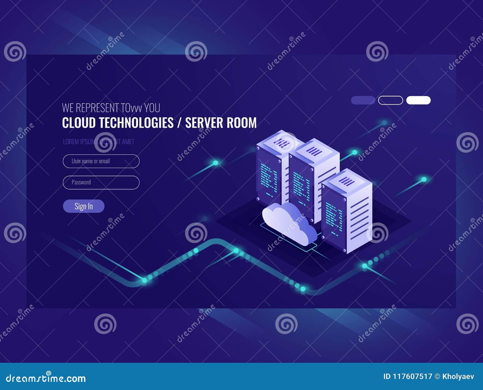 Núblese el centro de datos, icono del sitio del servidor, petición que procesa, informáticas, vector isométrico de la información