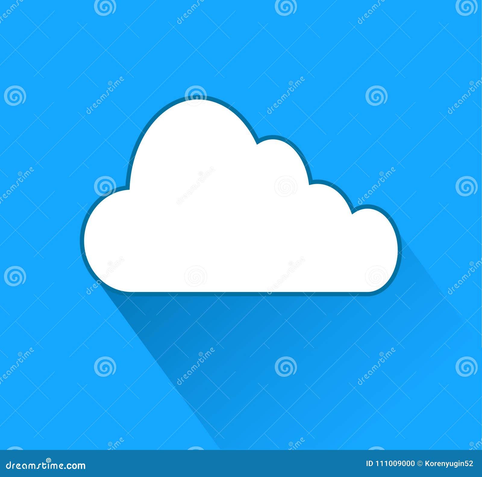 Núblese el icono sobre fondo azul con la sombra, illust común del vector