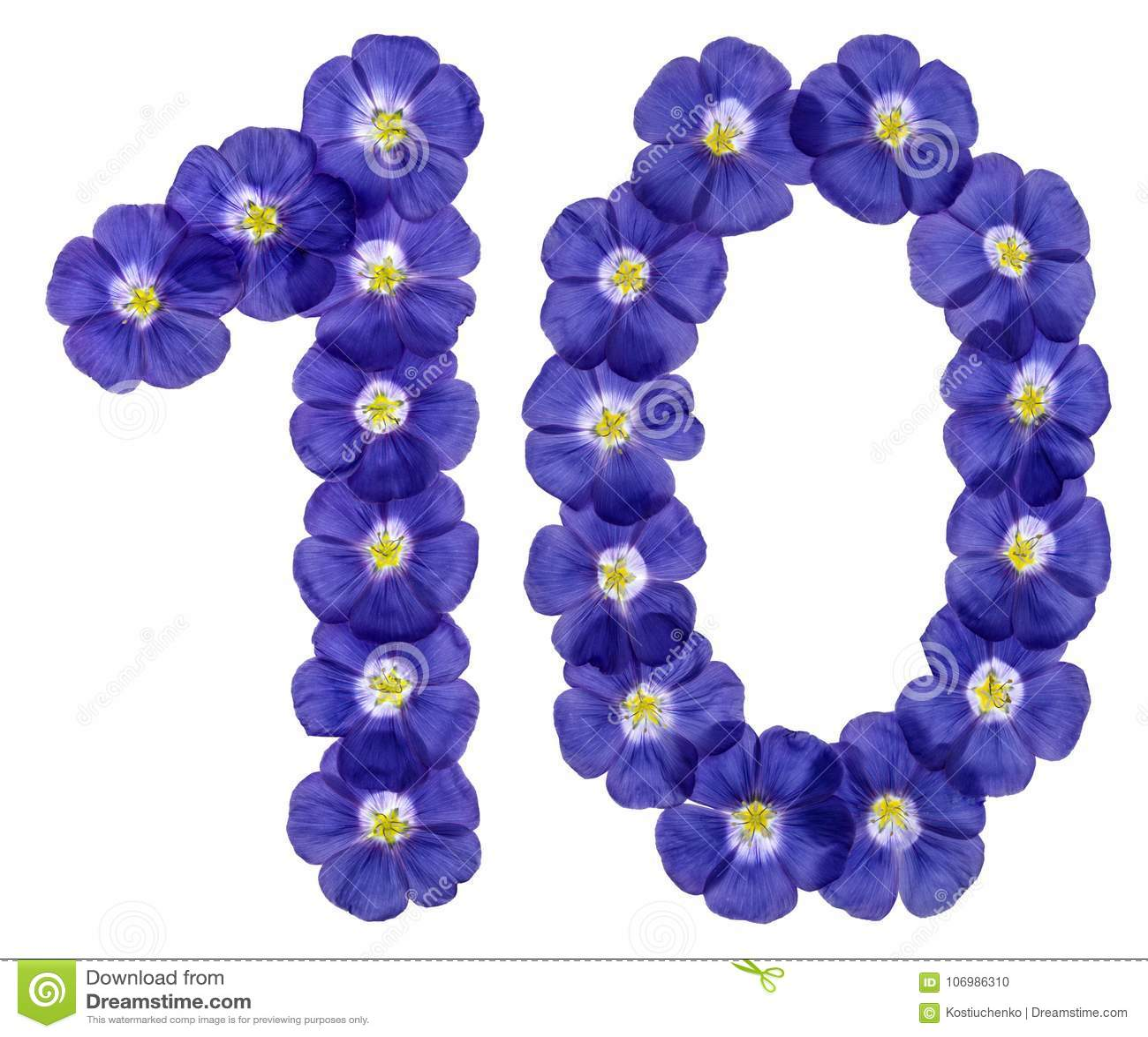 Número árabe 10, diez, de las flores azules del lino, aisladas en w