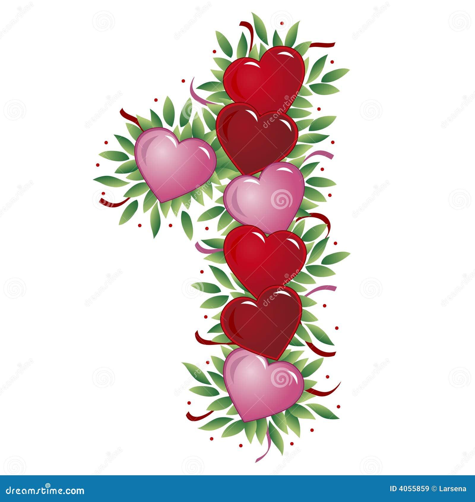 número 1 coração do valentim ilustração do vetor ilustração de