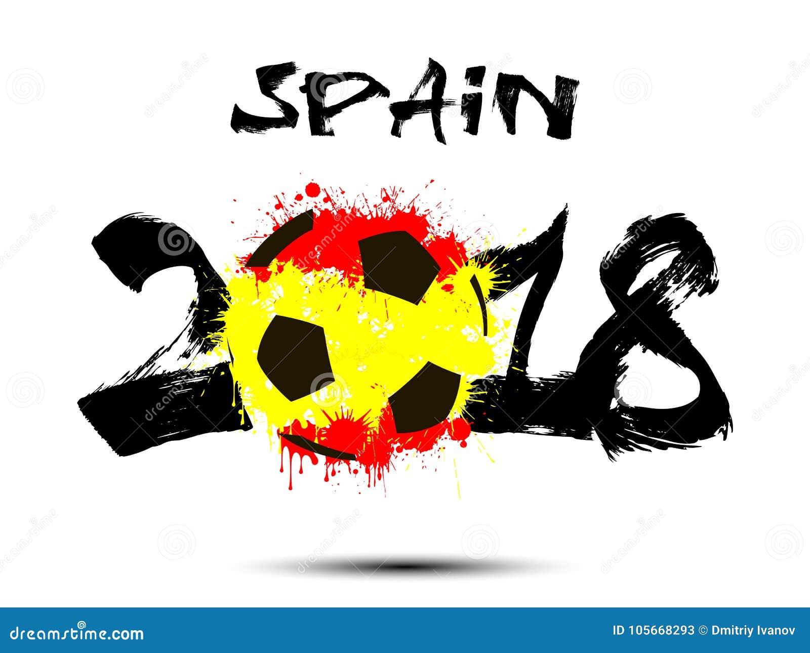 Número abstracto 2018 y mancha blanca /negra del balón de fútbol