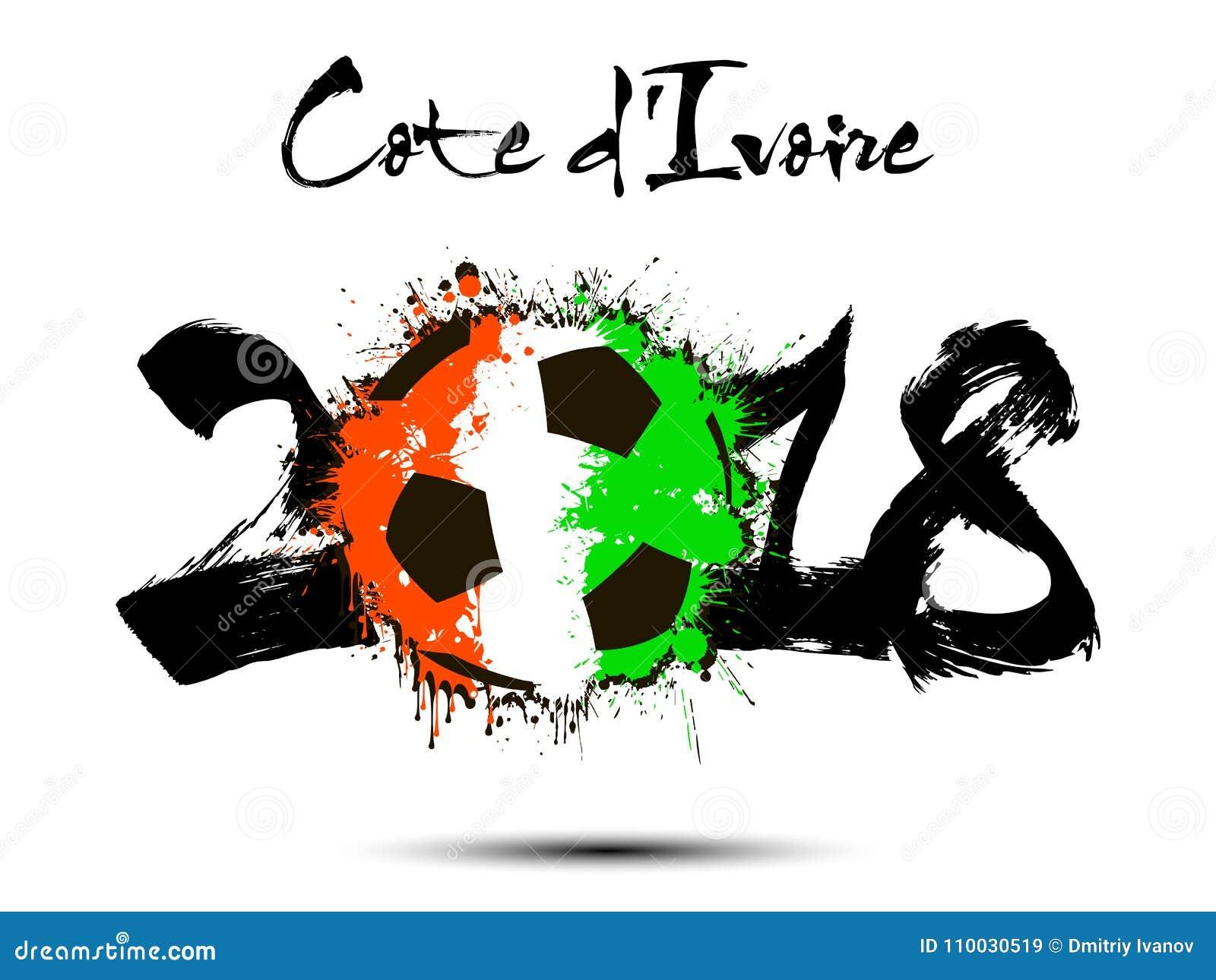 Número abstrato 2018 e mancha da bola de futebol