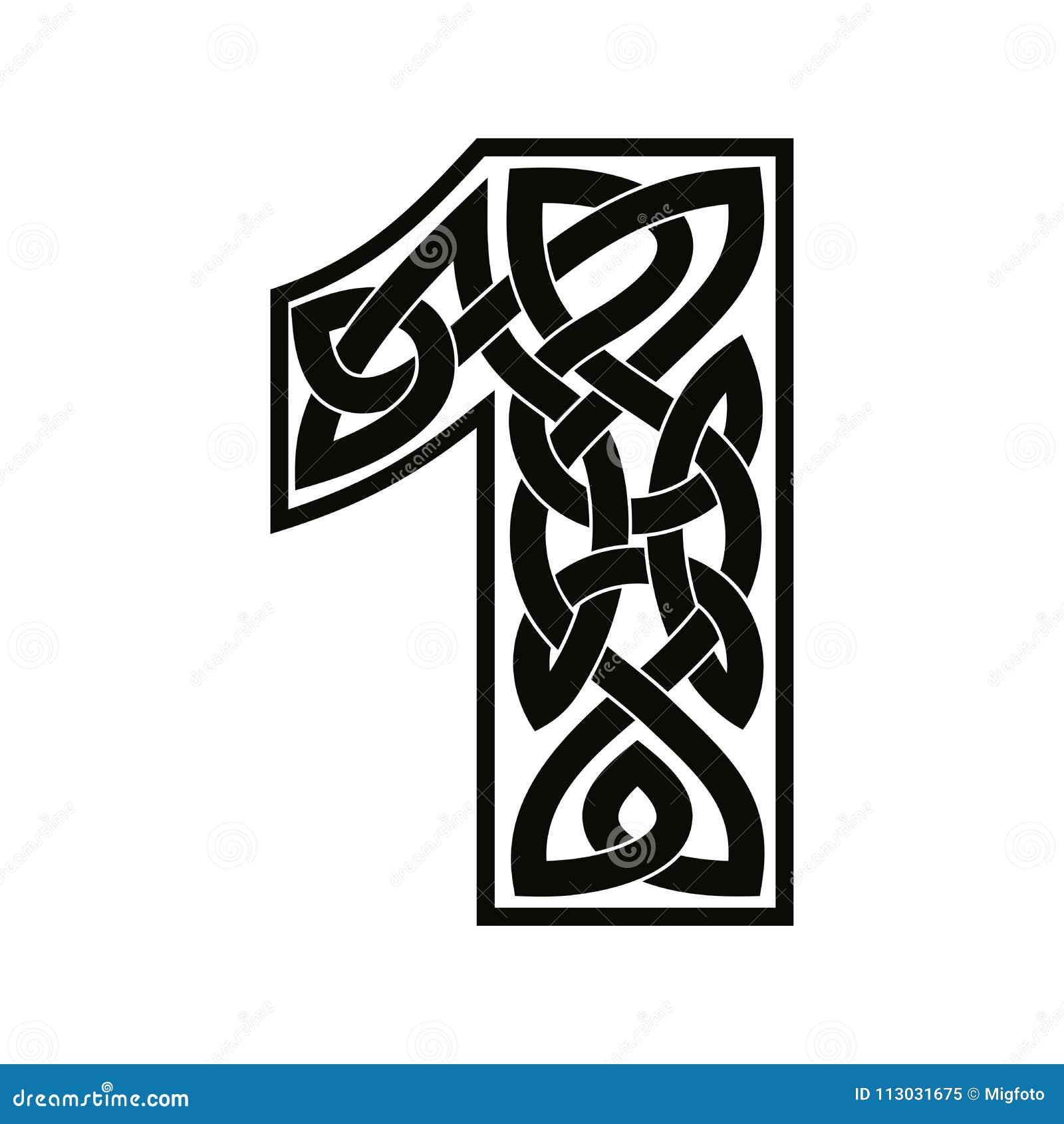 Número con el ornamento céltico
