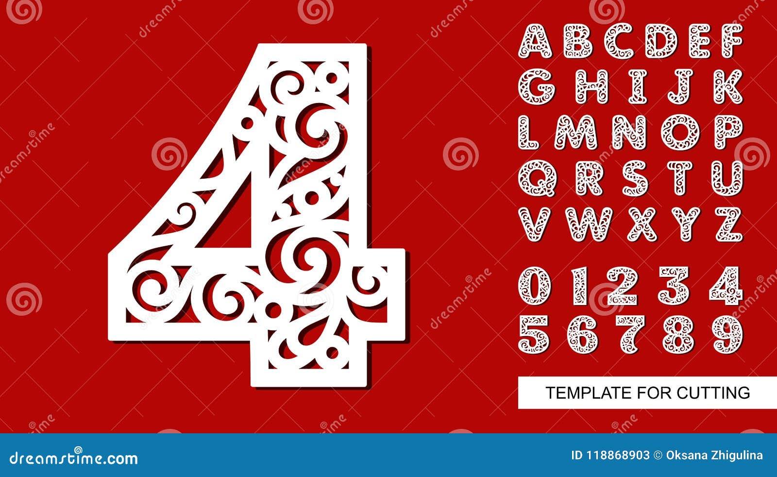 Numero Cuatro 4 Alfabeto Ingles Y Digitos Completos 0 1 2 3 4 5 6 7 8 9 Ilustracion Del Vector Ilustracion De Digitos Completos 118868903