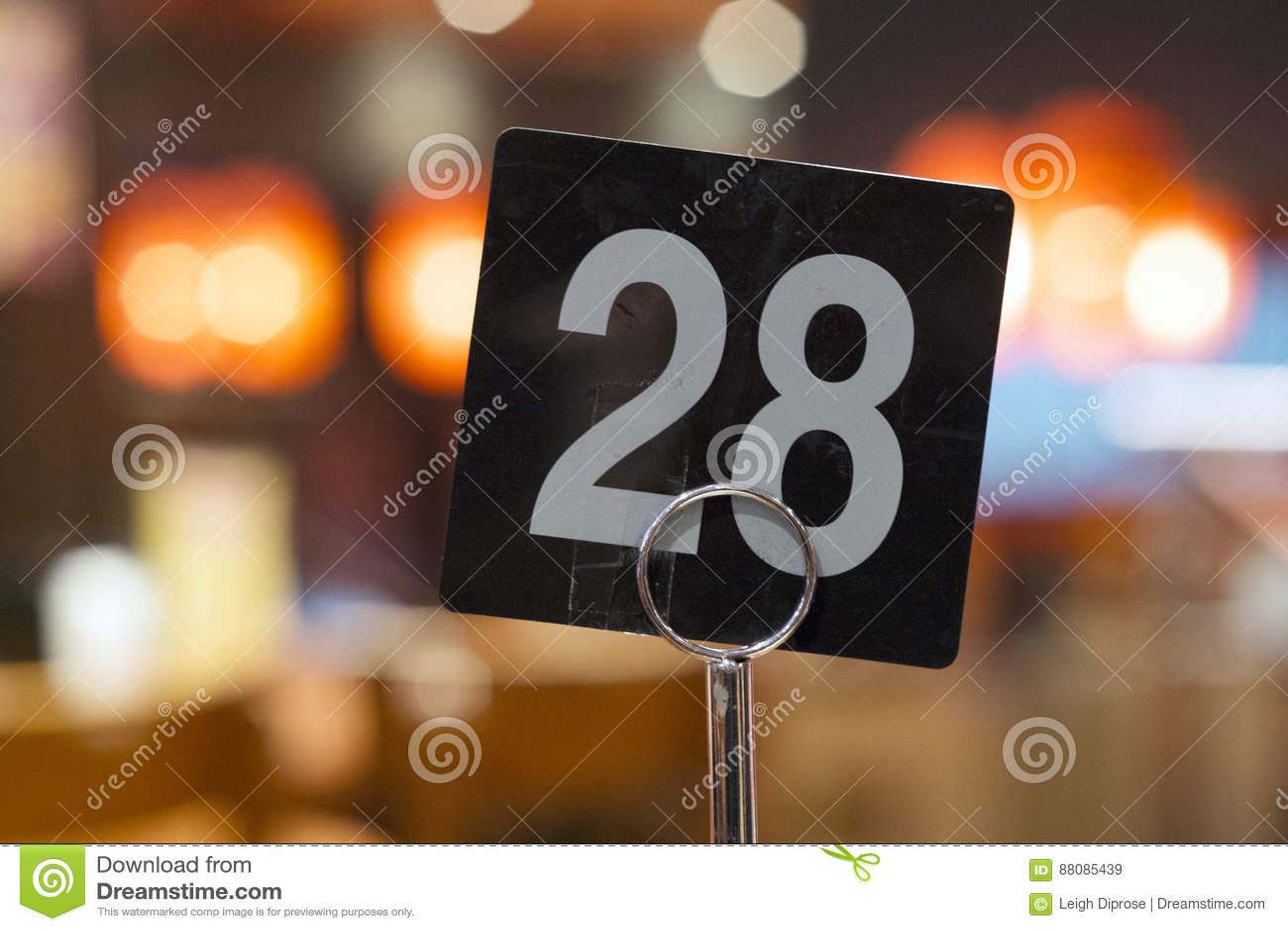 Número da tabela do restaurante