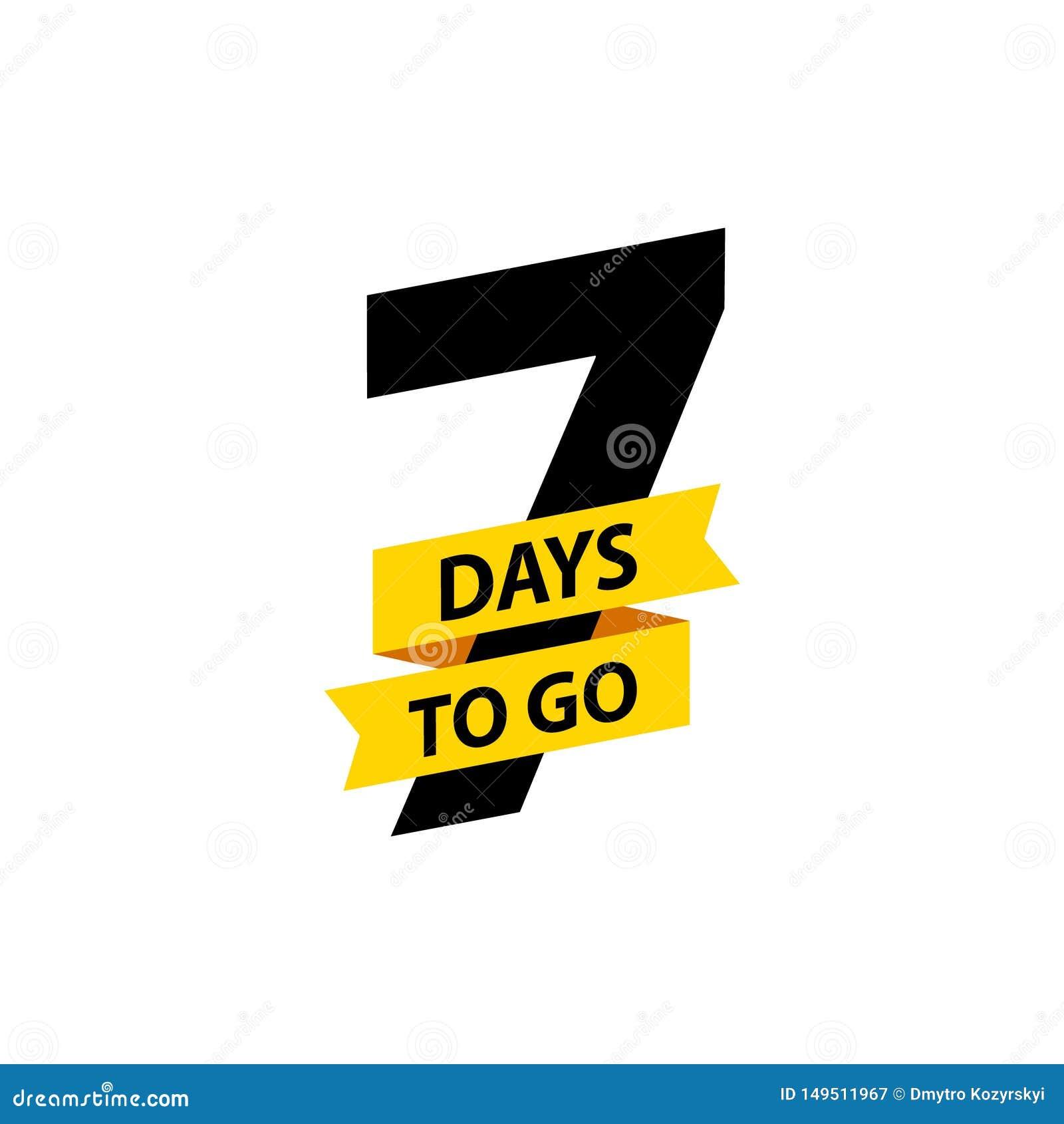 Número 7 de días a ir Venta de las insignias de la colecci?n, p?gina de aterrizaje, bandera Ilustraci?n del vector
