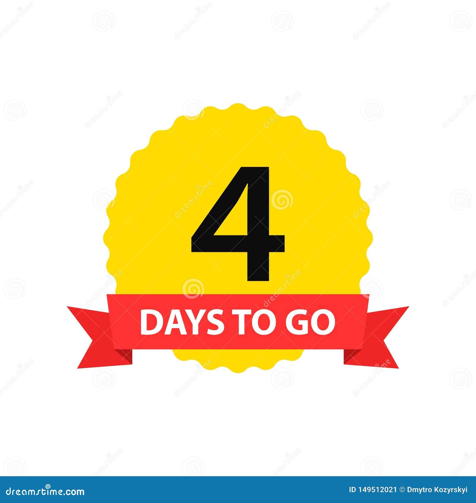 Número 4 de días a ir Venta de las insignias de la colecci?n, p?gina de aterrizaje, bandera Ilustraci?n del vector