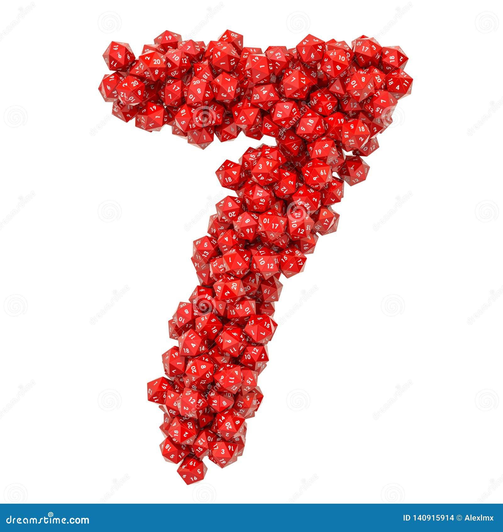 Número 7, de dados veinte-echados a un lado rojos, representación 3D