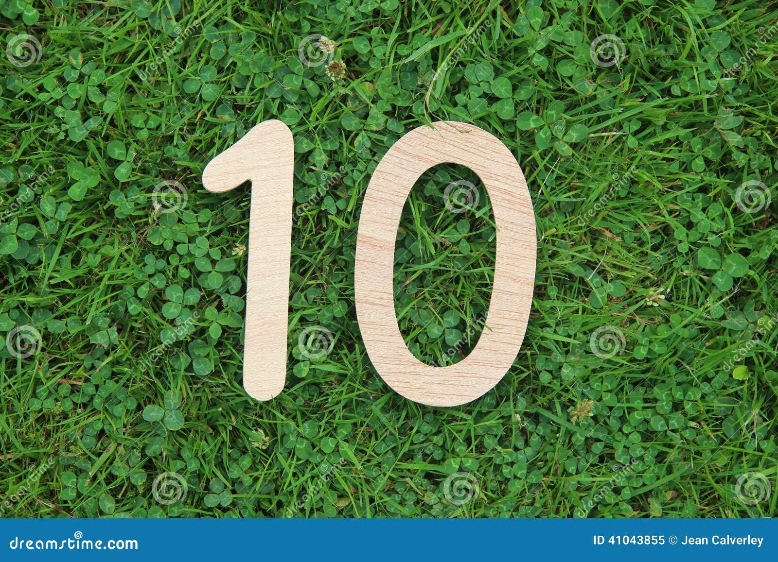 Número de madeira 10 no fundo da grama e do trevo