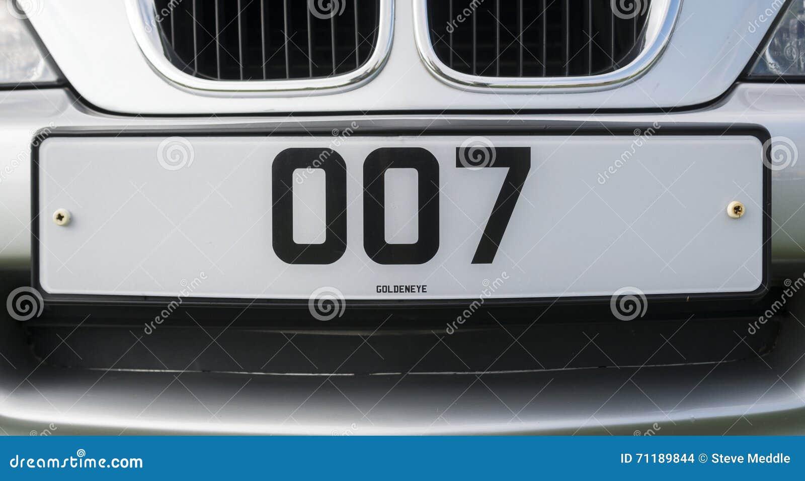 Número de matrícula personalizado de James Bond 007