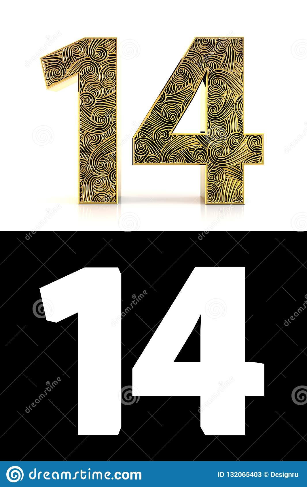 Número de oro catorce años de estilo Zentangle