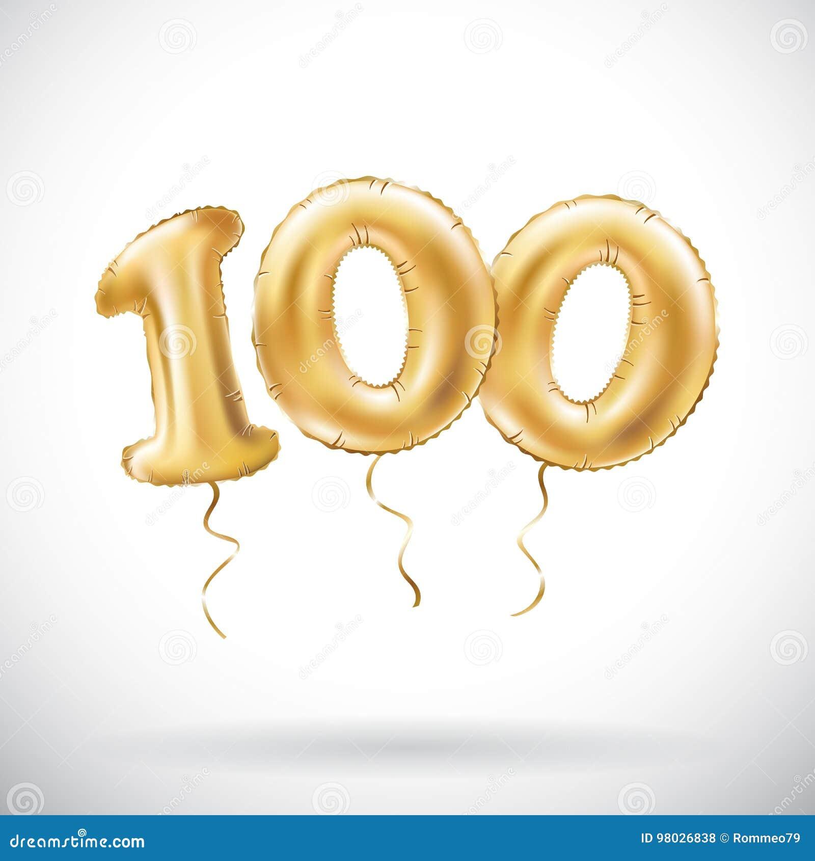Número dourado do vetor 100 cem balões metálicos Balões dourados da decoração do partido Sinal do aniversário para o feriado feli
