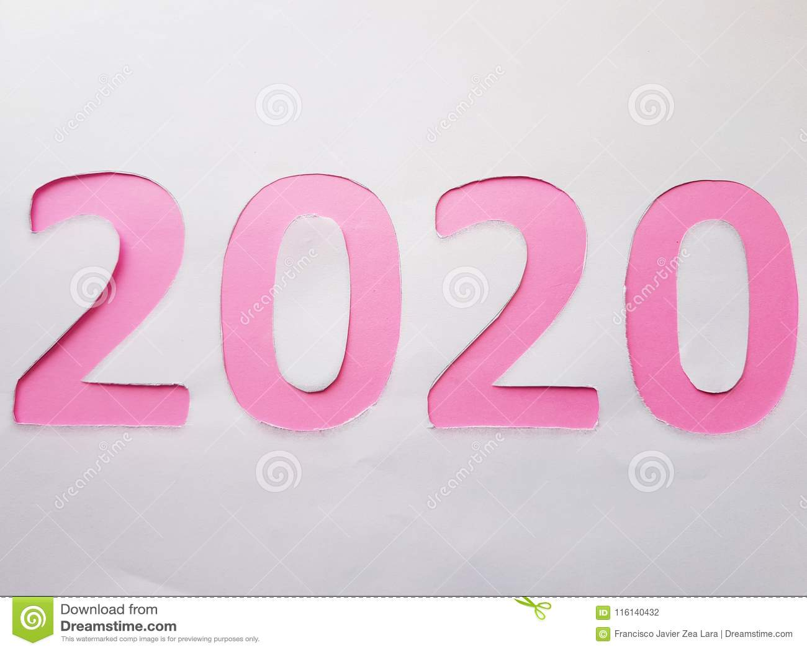 Calendario Rosa 2020.Numero 2020 En Rosa En El Fondo Blanco Foto De Archivo