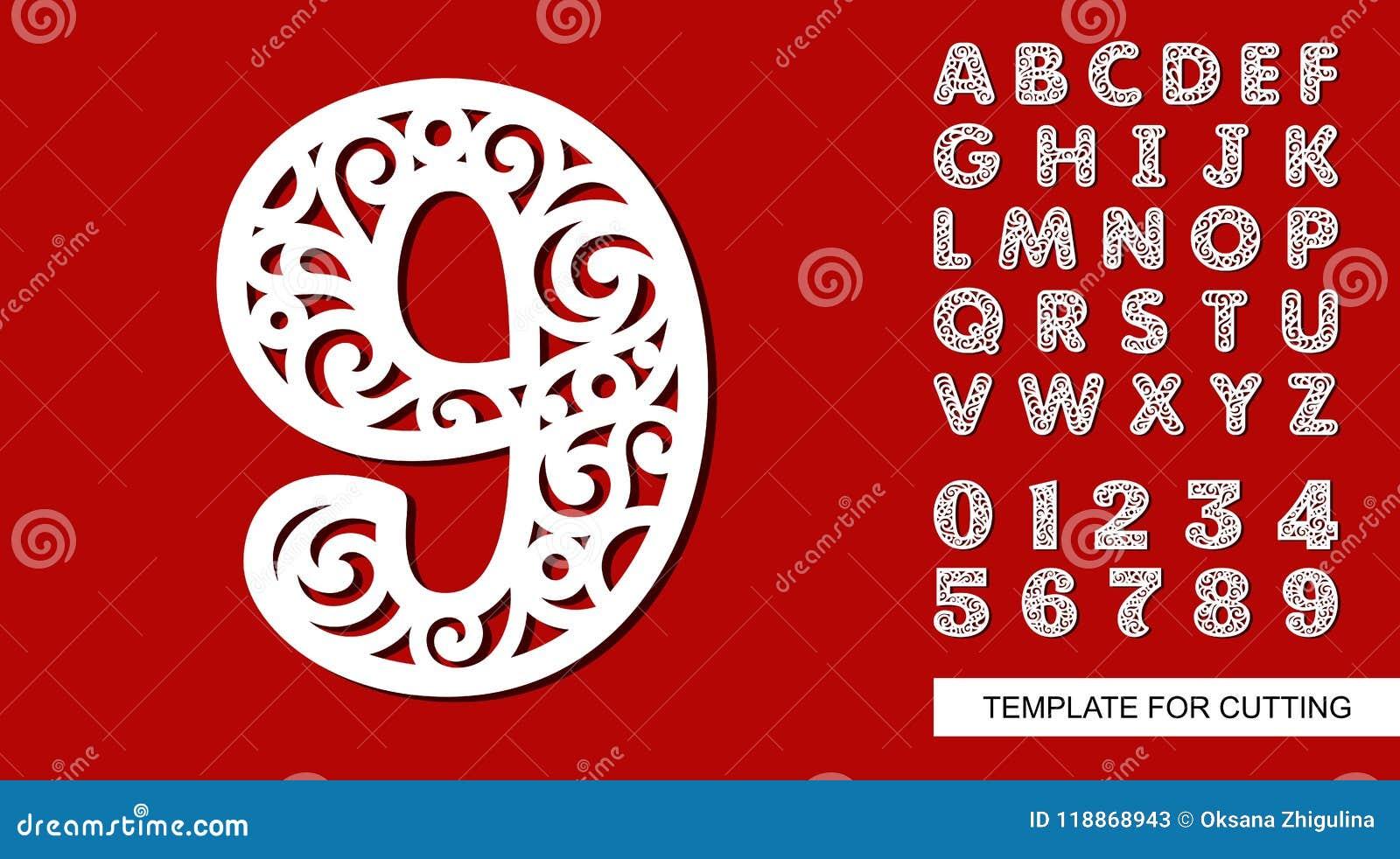 Número Nove - 9 Alfabeto Inglês E Dígitos Completos 0, 1, 2, 3, 4, 5, 6, 7,  8, 9 Ilustração Stock - Ilustração de numeral, laço: 118868943