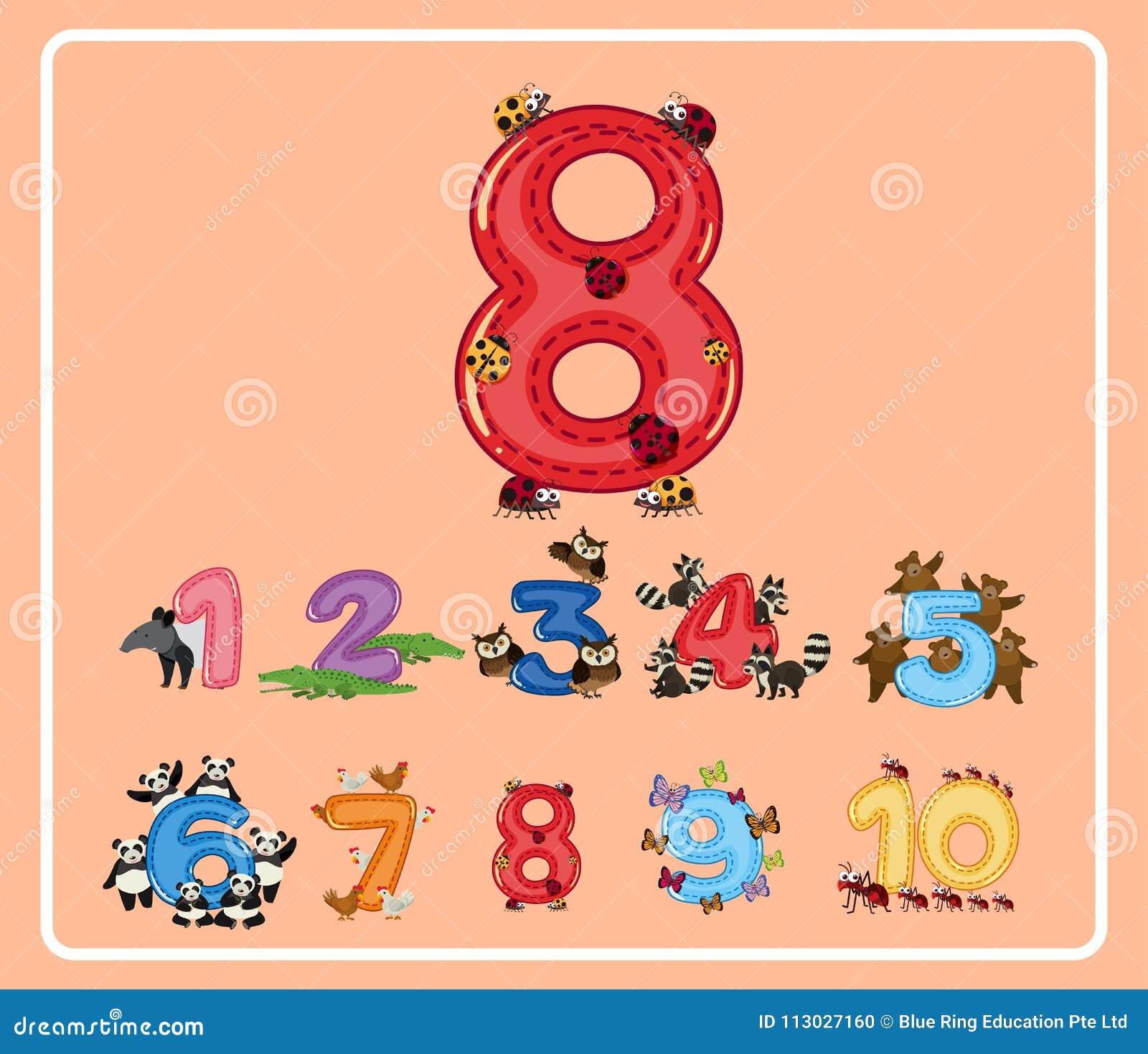 Número ocho con los pequeños insectos