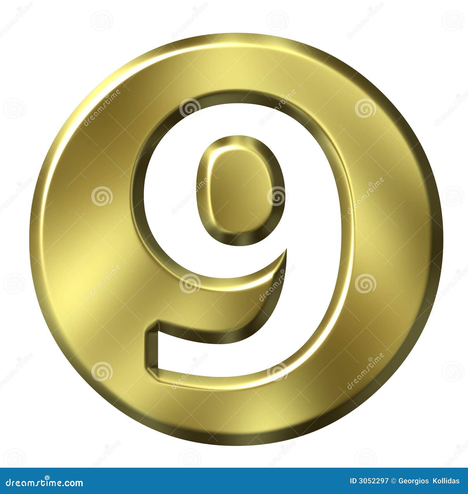 Número quadro dourado 9