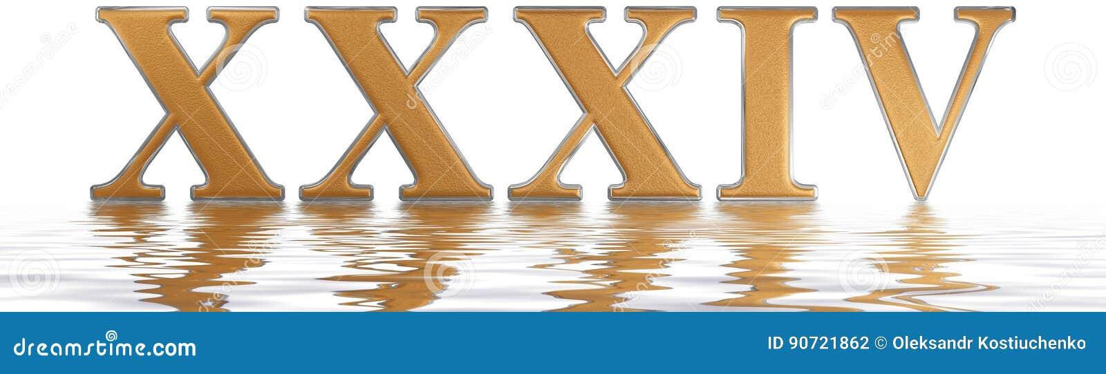 Número Romano Xxxiv Quattuor Y Triginta 34 Treinta Y Cuatro Refl