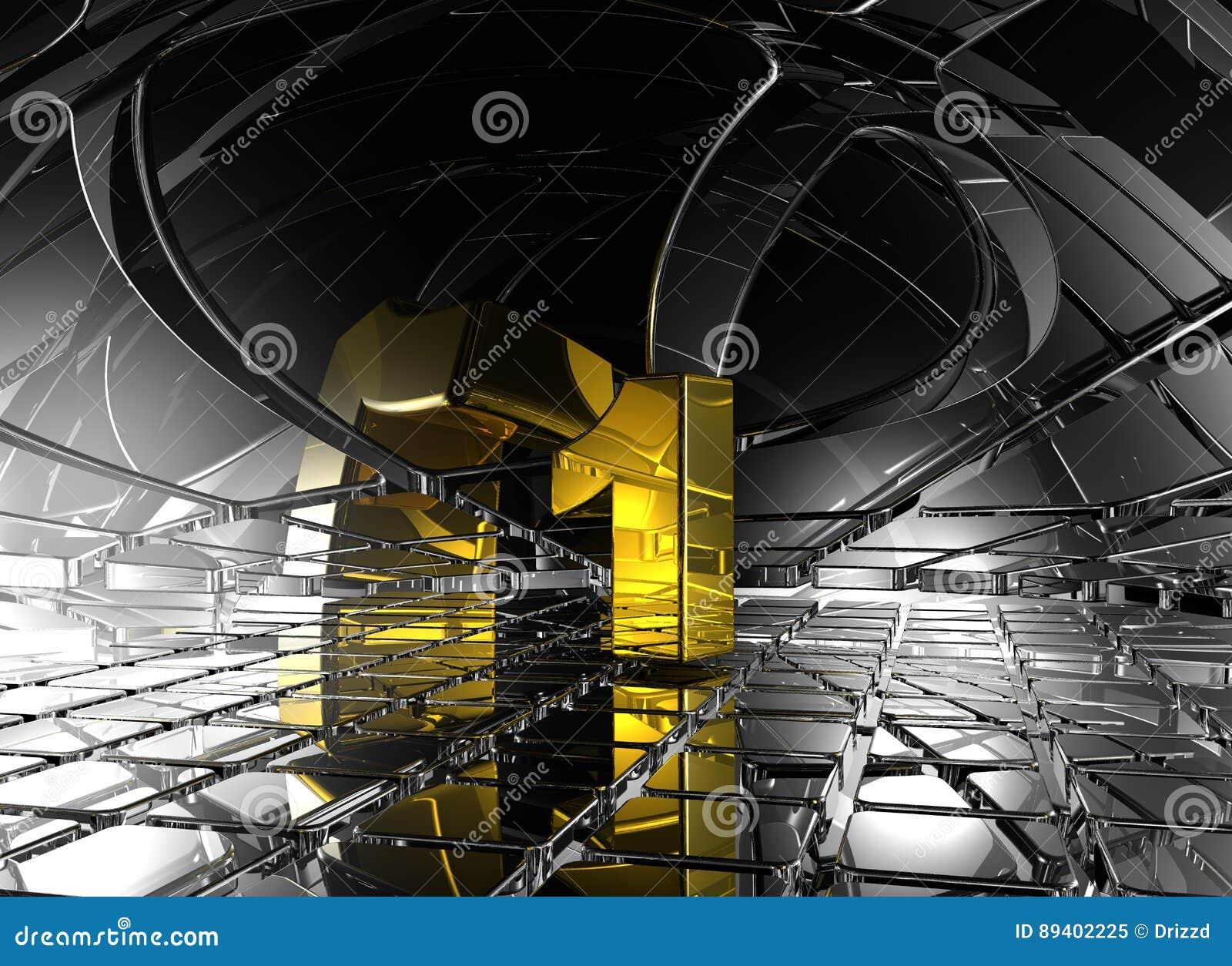 Número um no espaço futurista abstrato