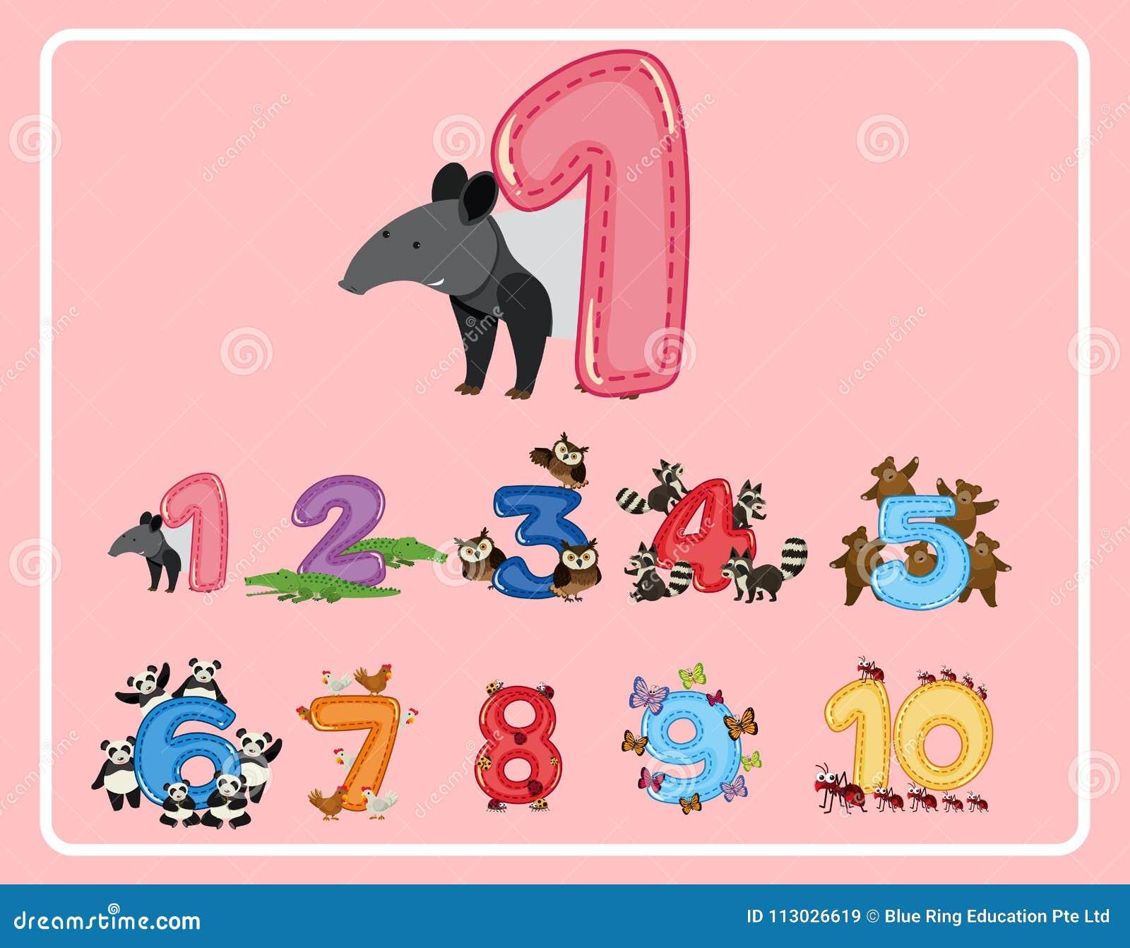 Número uno y otros números con los animales