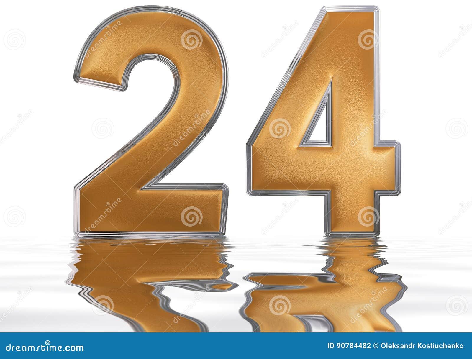 Número 24 Veinticuatro Reflejado En La Superficie Del Agua
