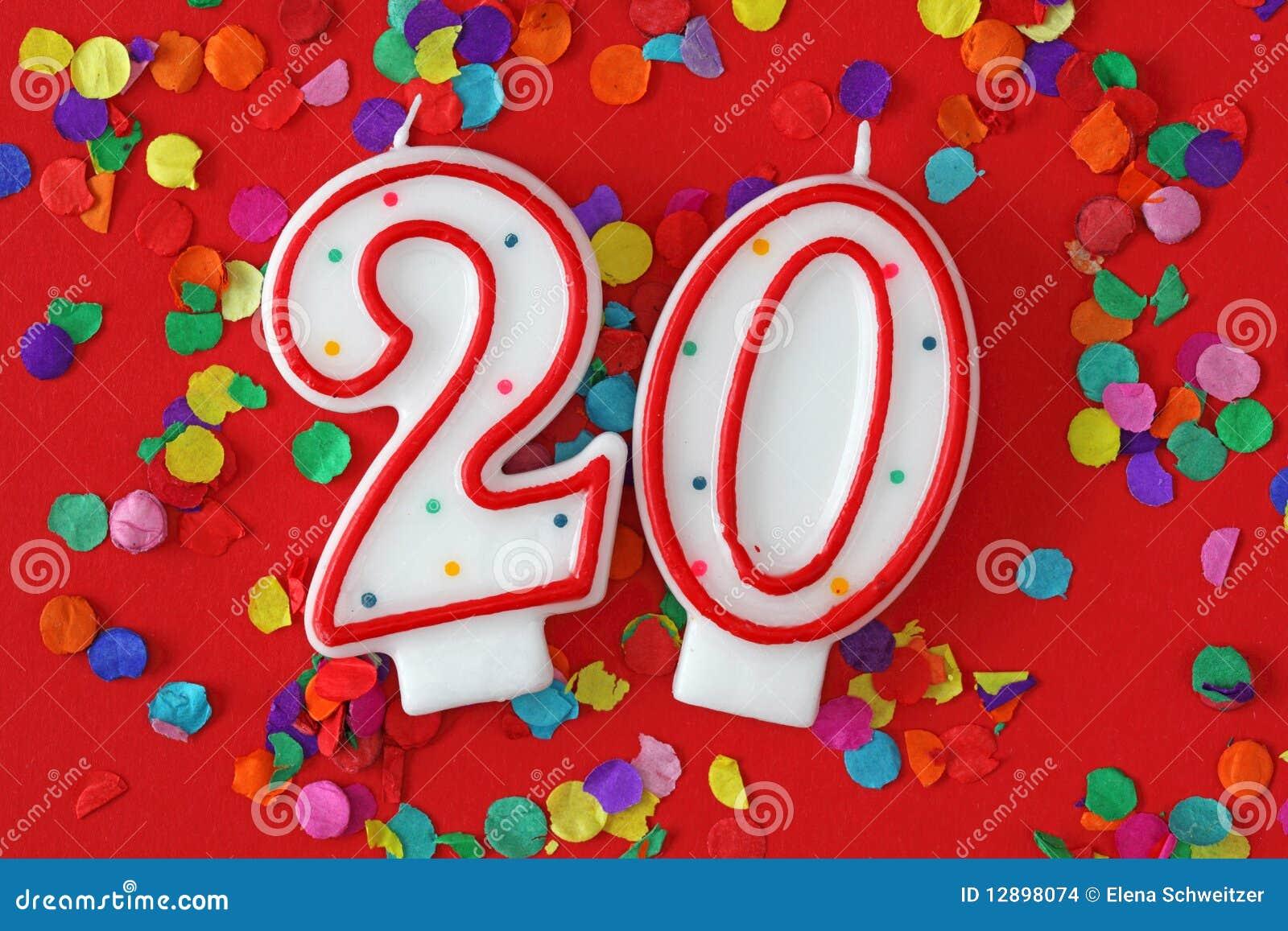 Número vela de veinte cumpleaños