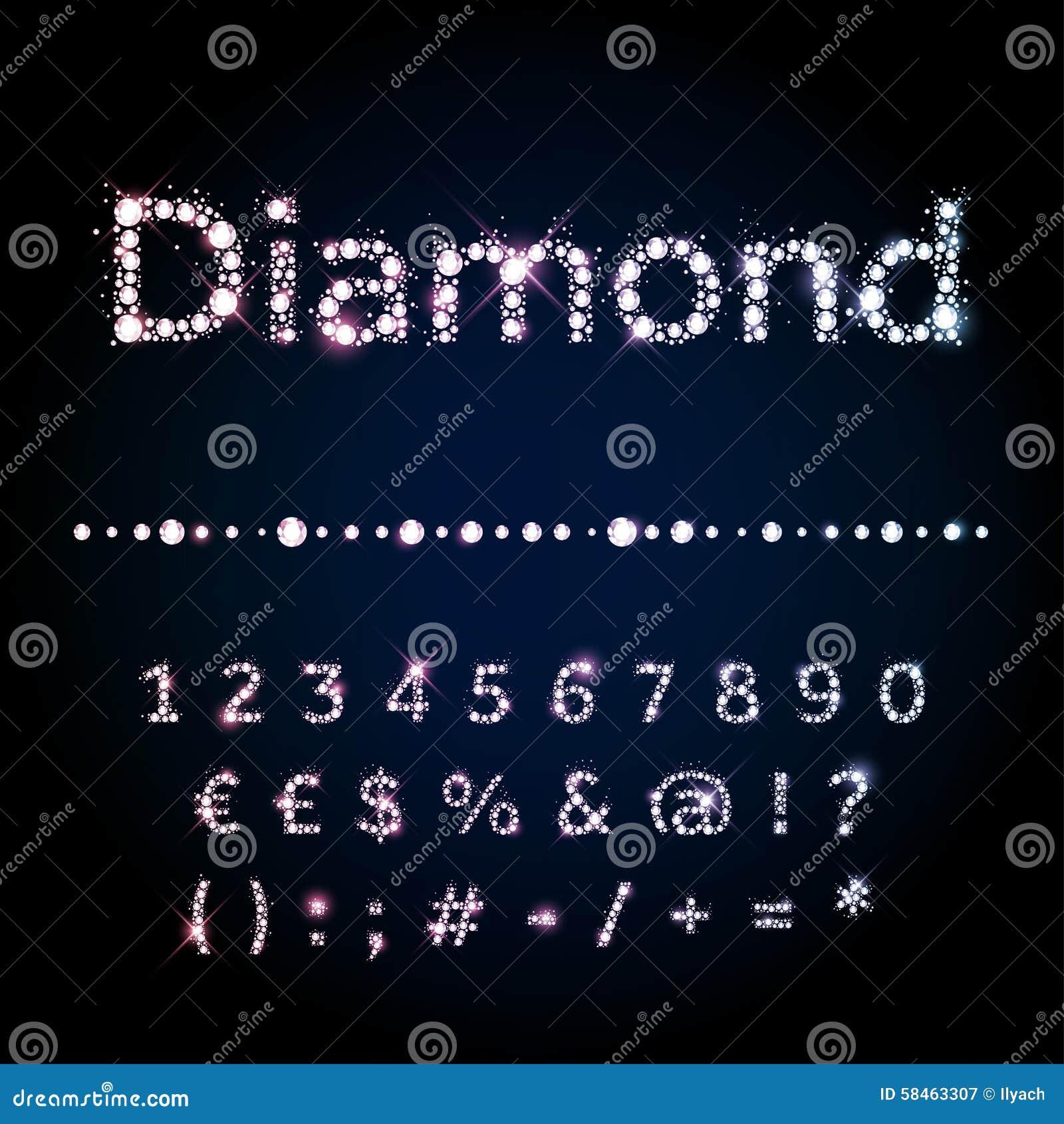 Números ajustados da fonte brilhante do diamante e símbolos especiais