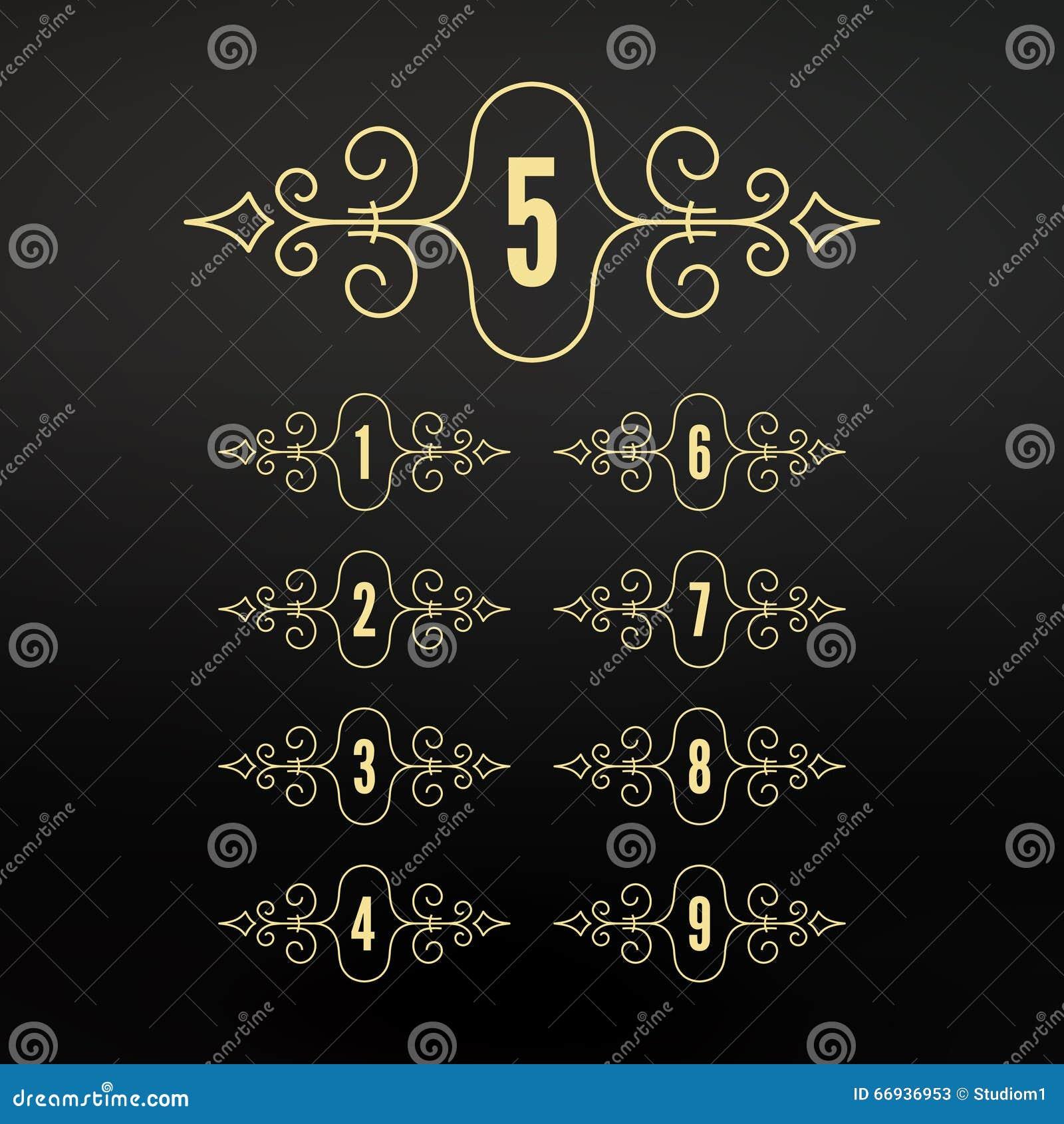 Números ajustados Quadros no estilo linear Quadro caligráfico dos Flourishes Projeto retro elegante do estilo Ornamento pattern