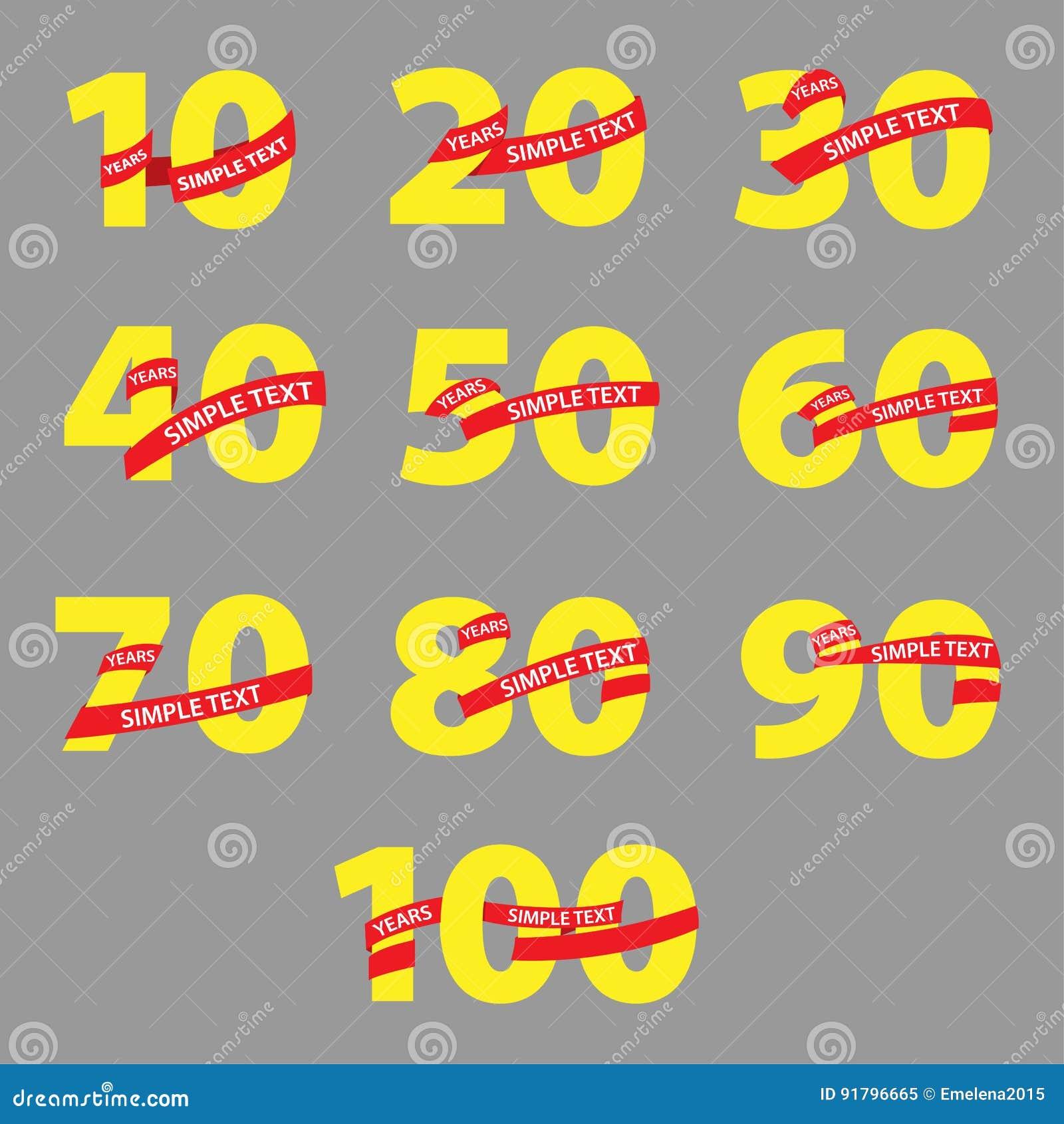Números amarillos con aniversario rojo de las cintas