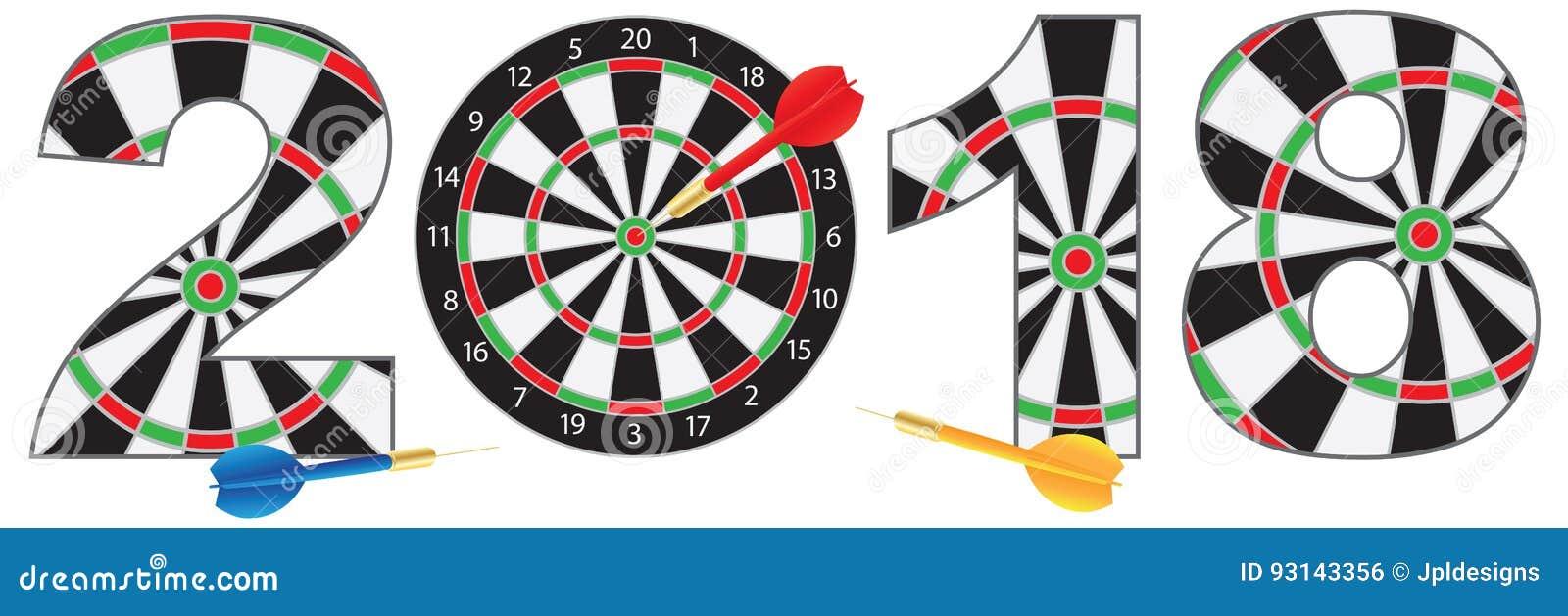 2018 números con el ejemplo del vector de las dianas y de los dardos