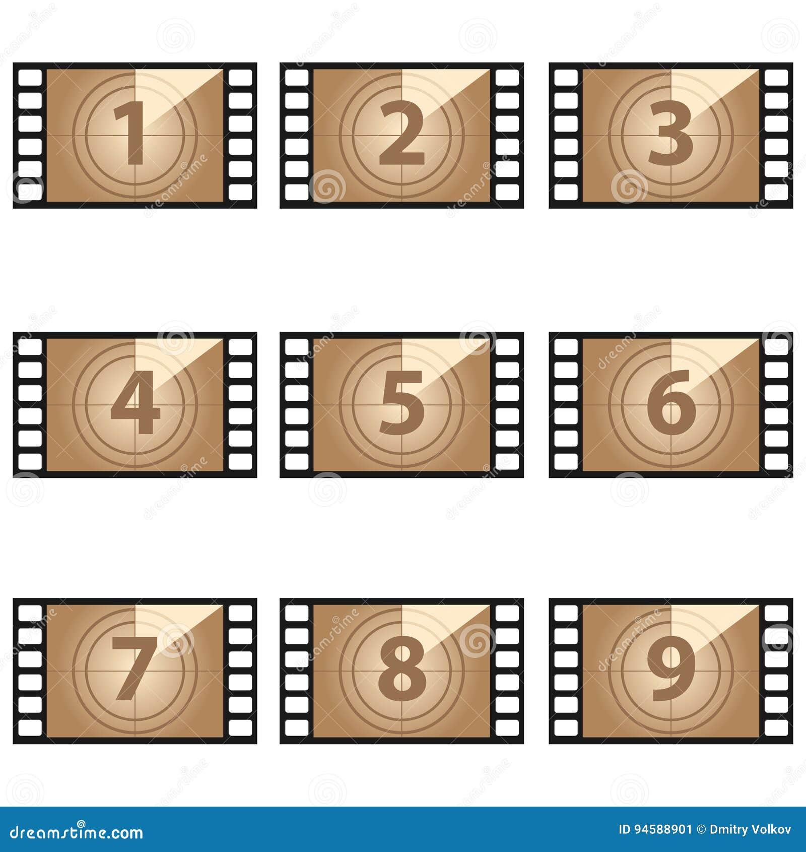 Números da contagem regressiva do filme ajustados