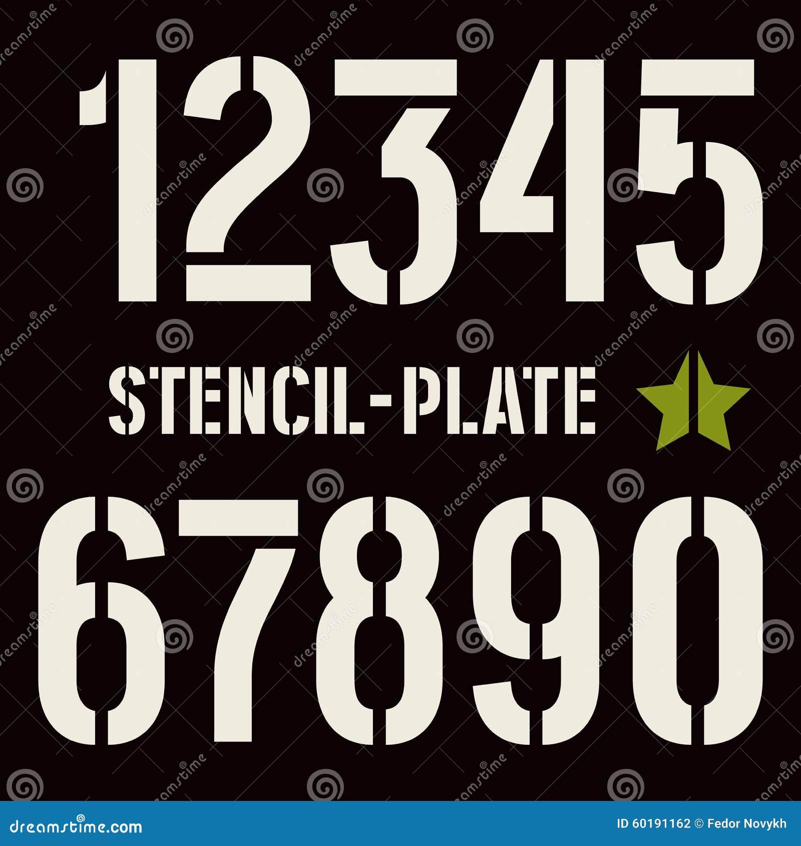 Números De La Plantilla-placa En Estilo Militar Ilustración del ...