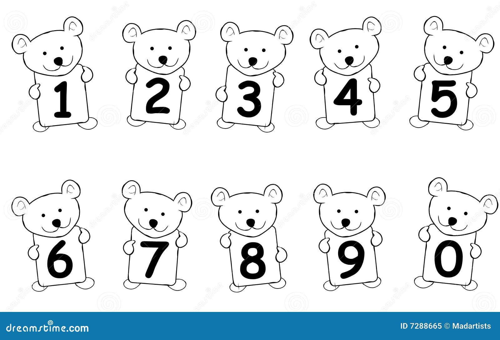 Números del oso del peluche