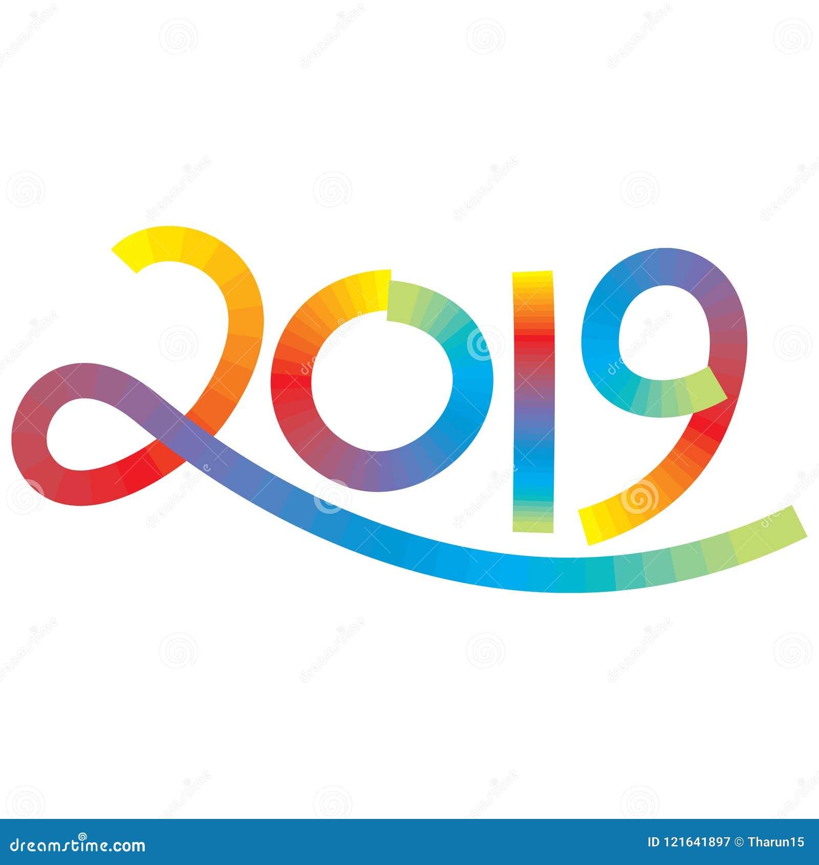 Números veinte diecinueve en el efecto del movimiento del multicolor por el Año Nuevo
