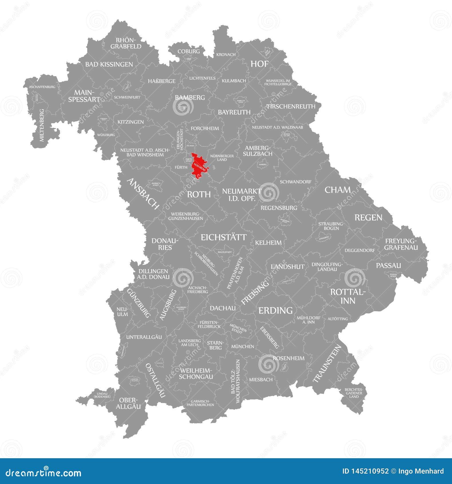 nürnberg karte deutschland Nürnberg Stadtrot Hob In Der Karte Von Bayern Deutschland Hervor
