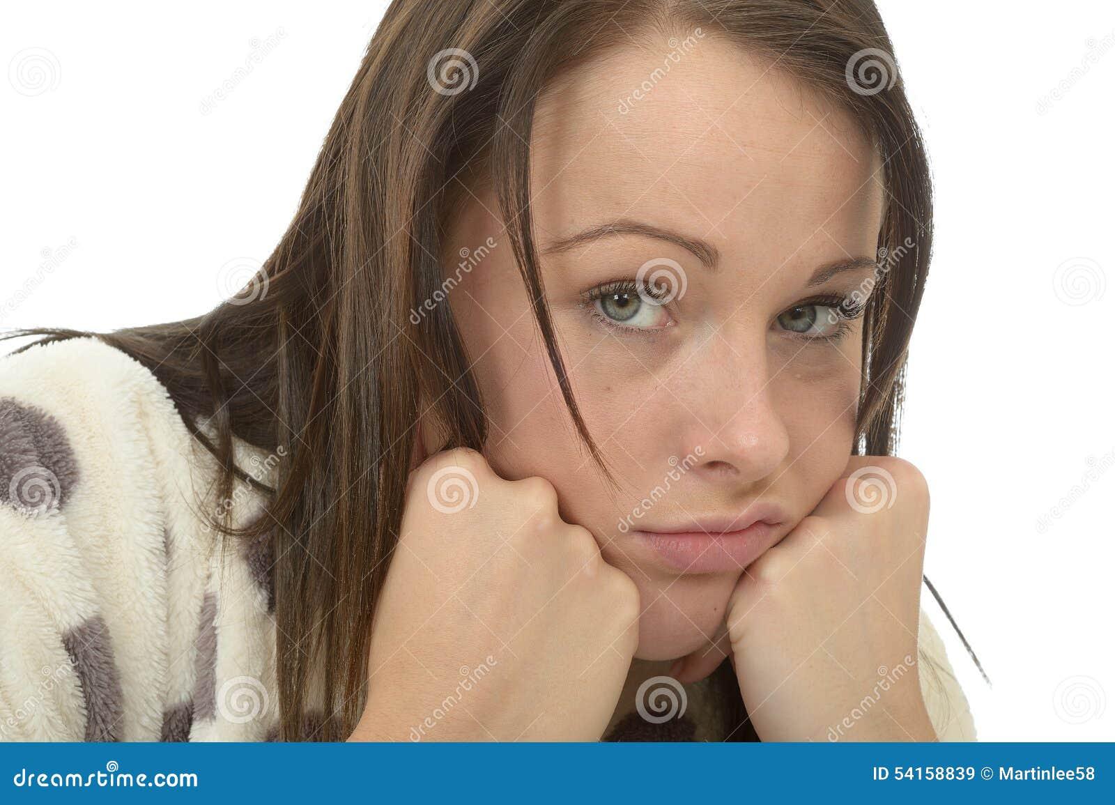 Nędzny Zanudzam Przygnębiony młodej kobiety Czuć Unmotivated i Gnuśny