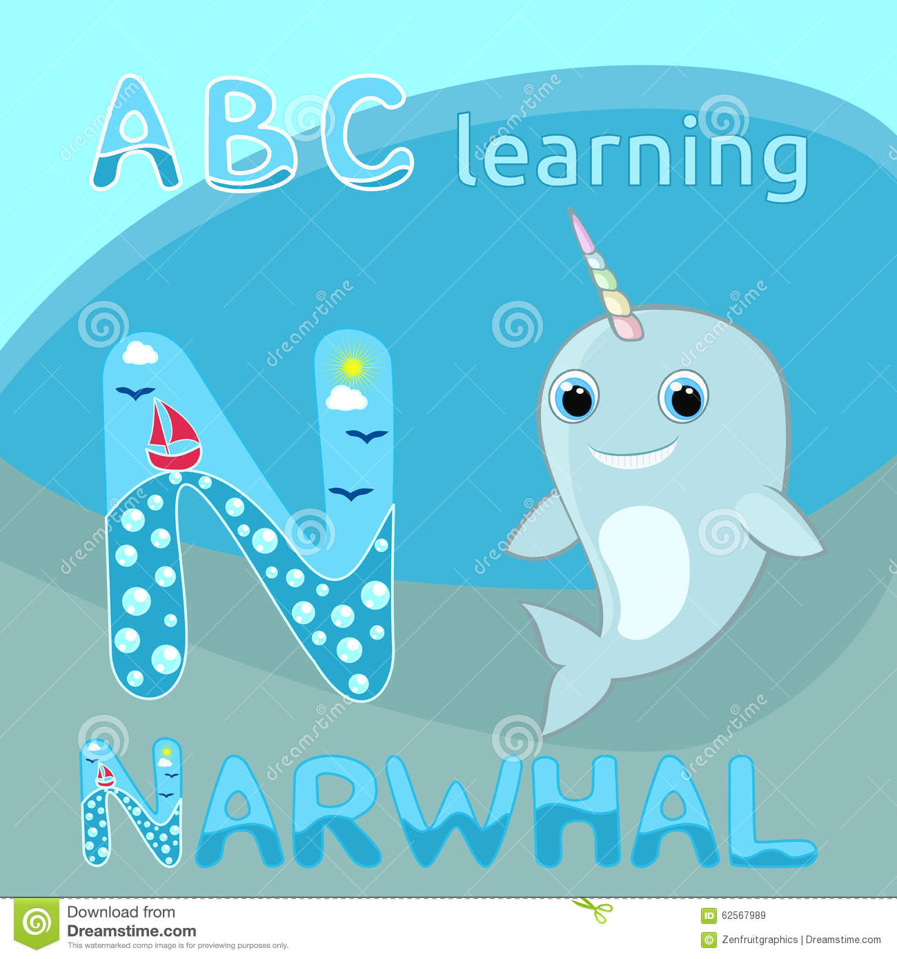Download N Letter ABC Kids Baby Narwhal W Rainbow Horn Vector Illustration Cute  Cartoon Narwhal Vector