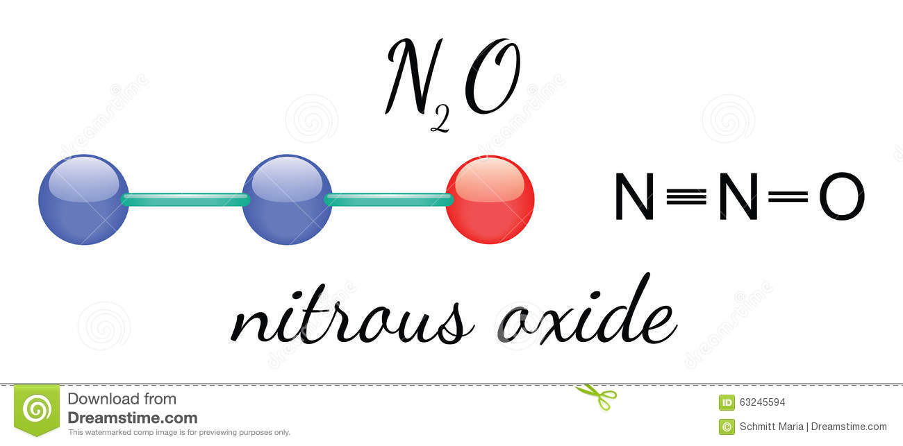 N2O nitrous oxide molecule stock vector. Image of physics ...