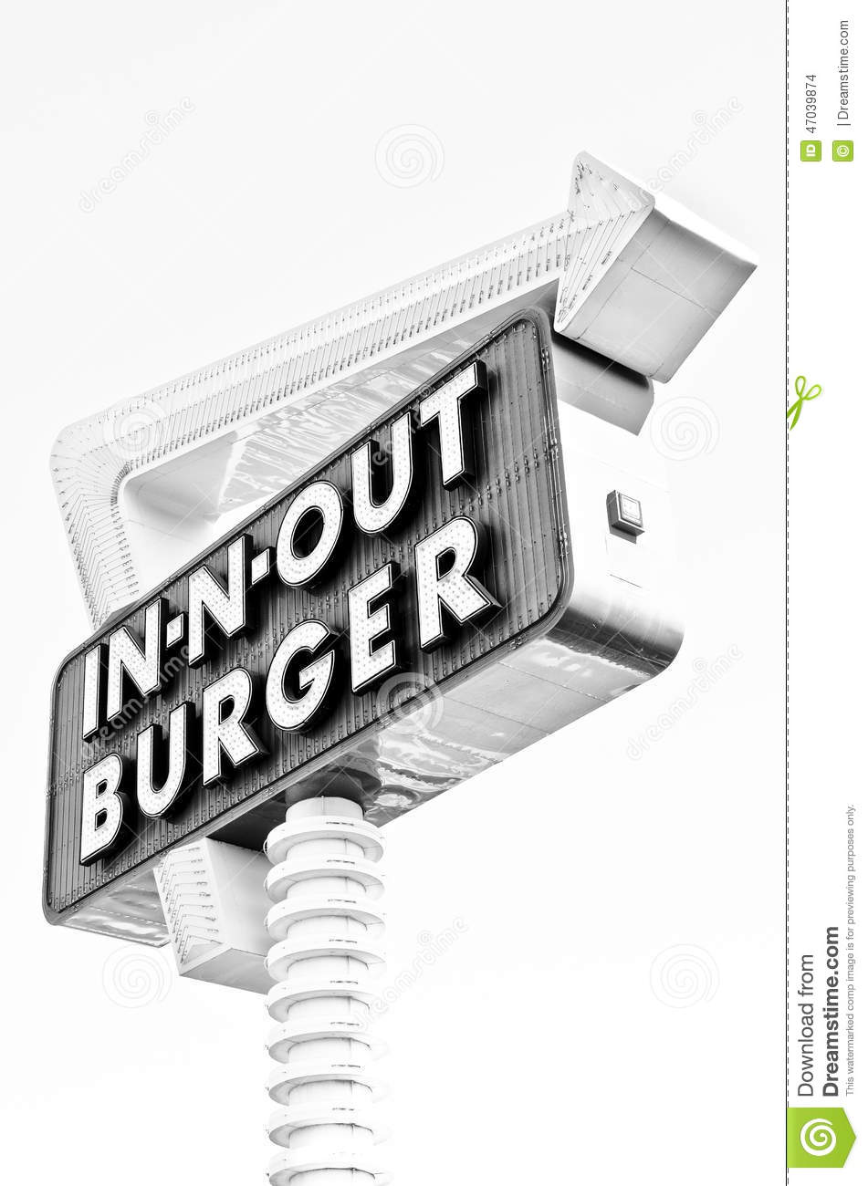 In n out burger black and white editorial stock image for American southwest cuisine