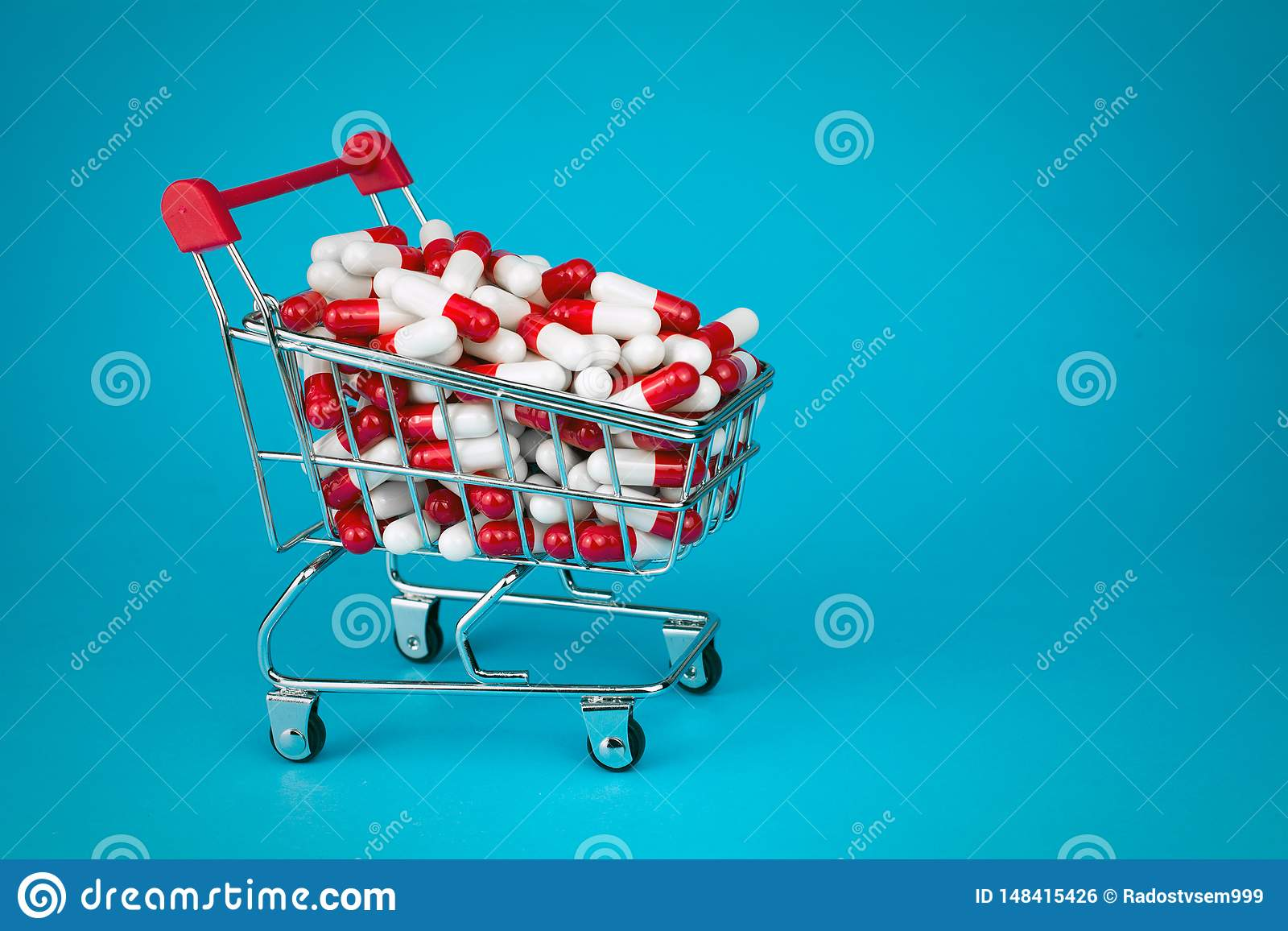 N?r du shoppar sp?rvagnen fyllde r?da medicinska kapslar