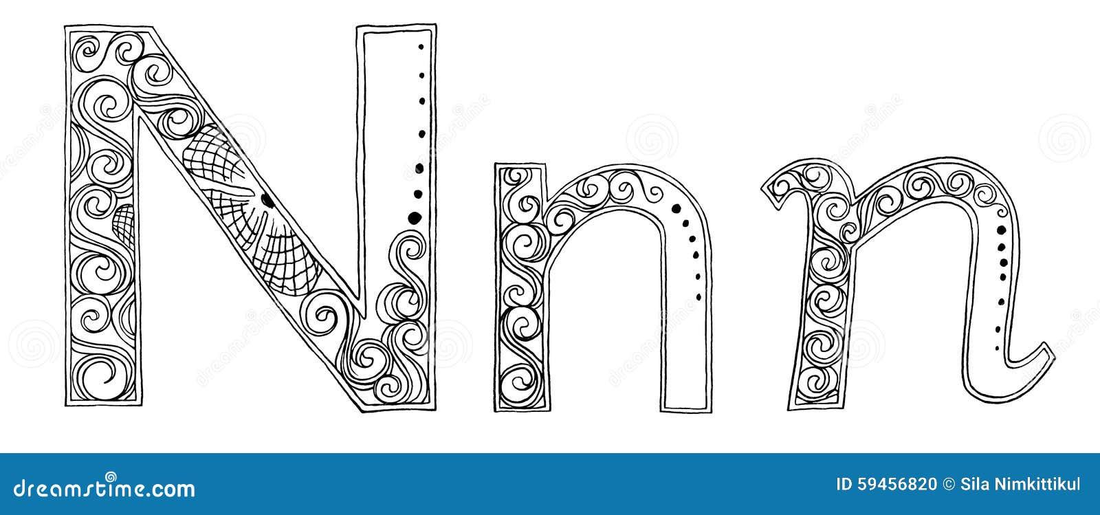 N Vanda Freehand Pencil Sketch Font Stock Illustration