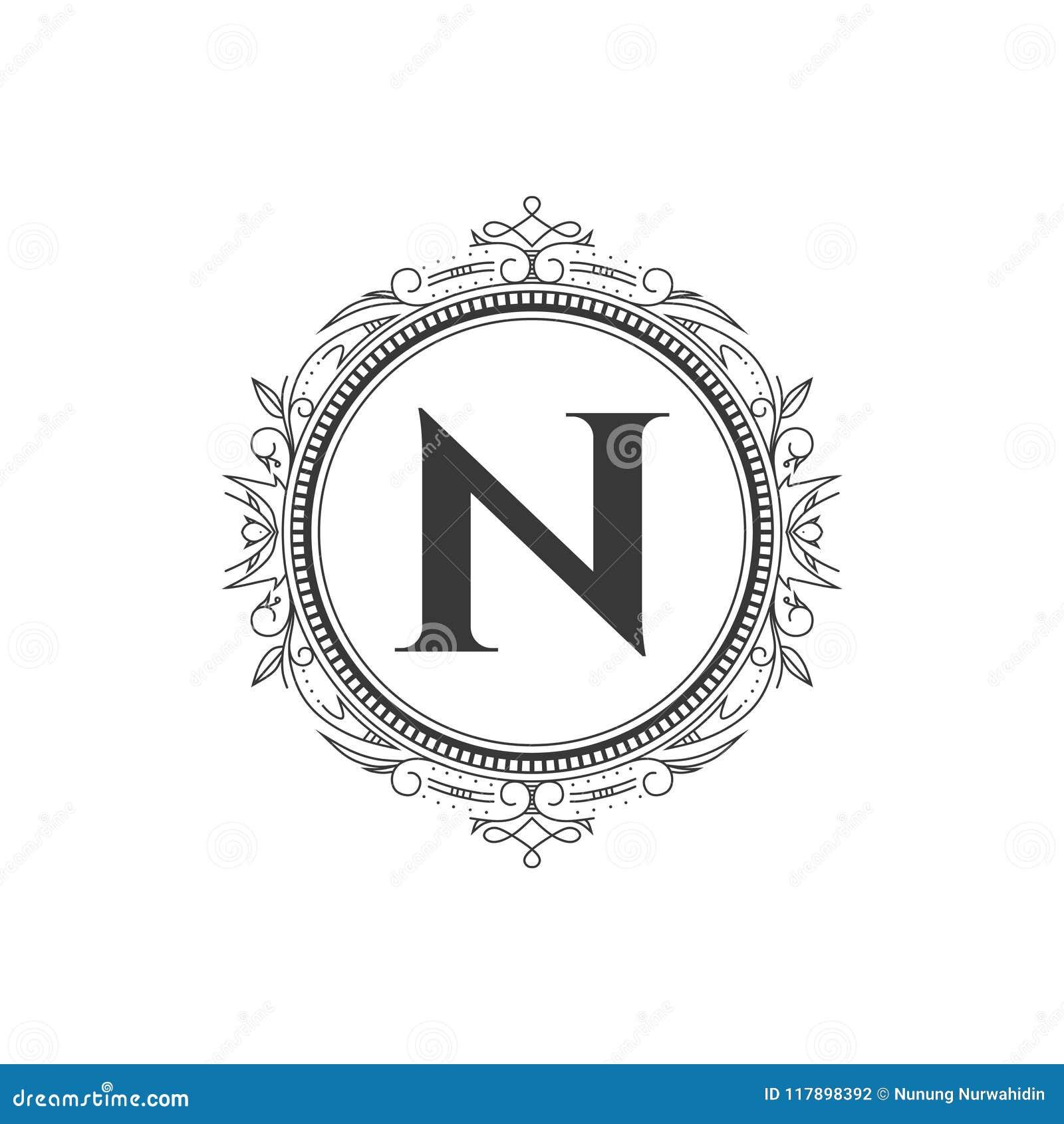 N Zeichnen Monogrammbuchstabe Logoschablone Mit Luxusverzierung Ab