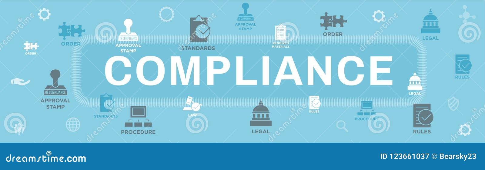 Na bandeira da Web da conformidade - o ícone ajustou-se que mostra uma empresa passada