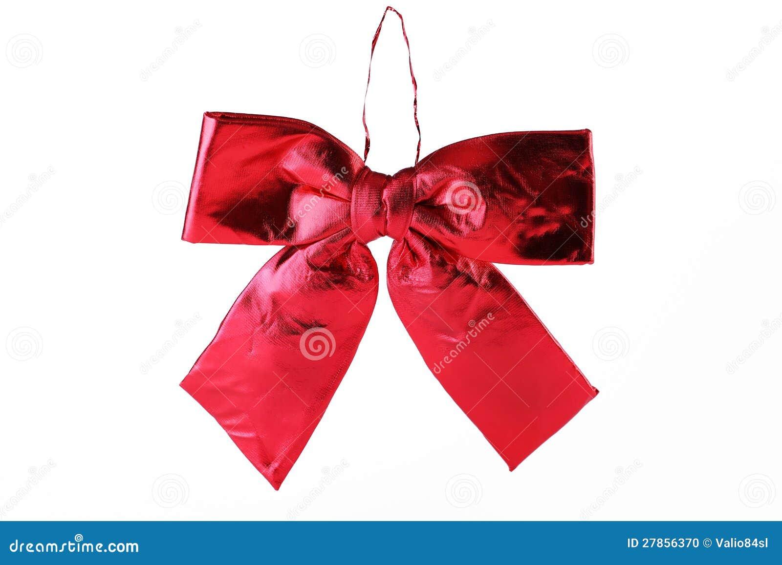Na biel błyszczący czerwony atłasowy faborek