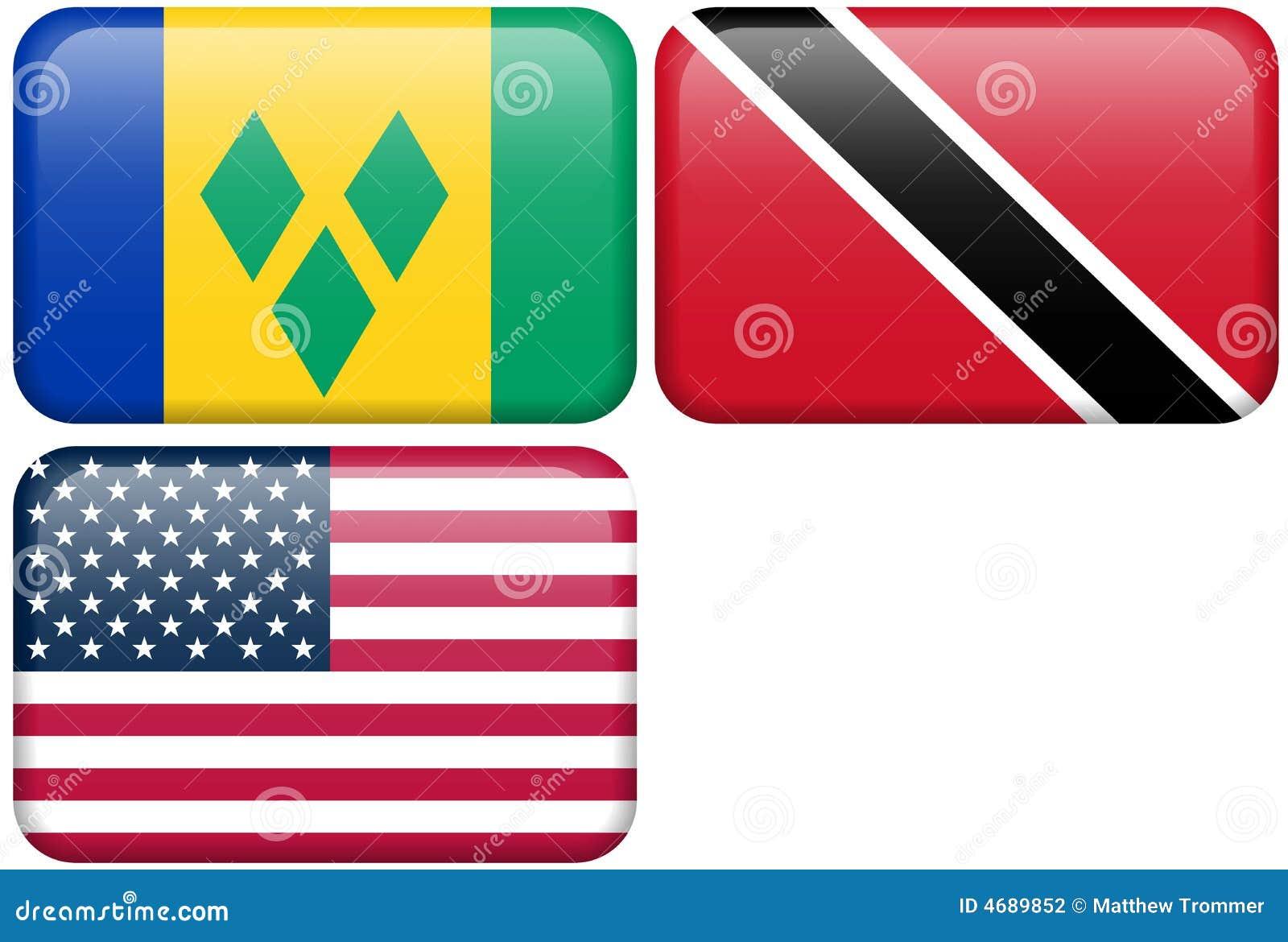 NA Buttons: St  Vincent, Trinidad & Tobago, USA Stock