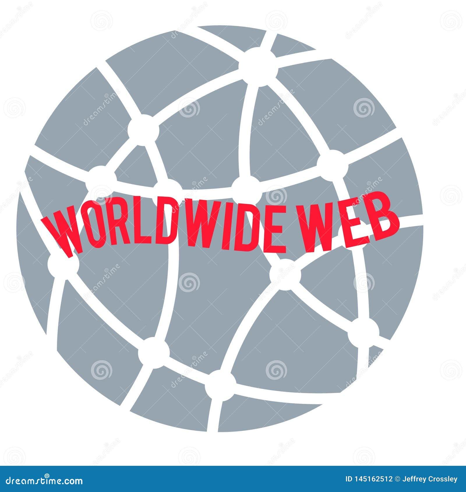 Na całym świecie sieć logo, czerwoni sformułowania na kółkowej kuli ziemskiej siwieje tło