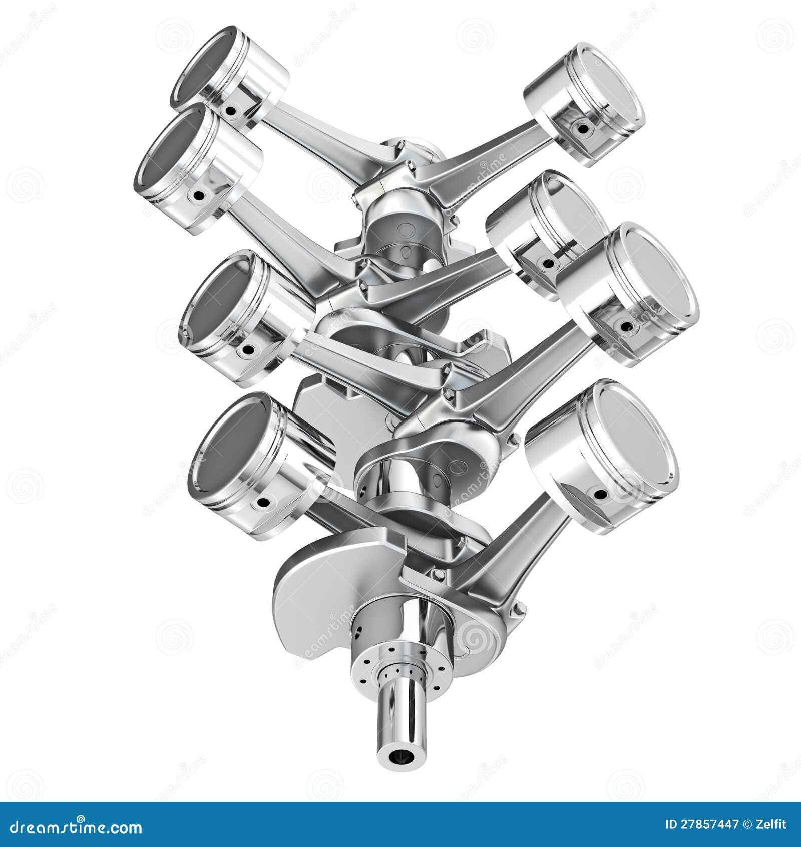 Na crankshaft parowozowi V8 tłoki