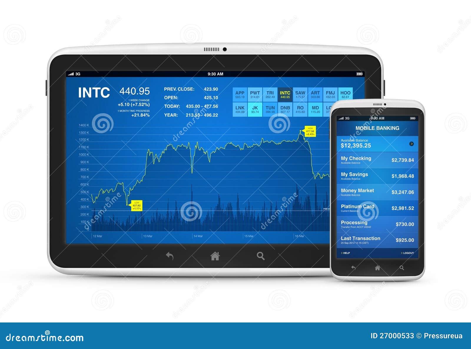Na cyfrowych przyrządach Rynek Papierów Wartościowych i wiszącej ozdoby bankowość
