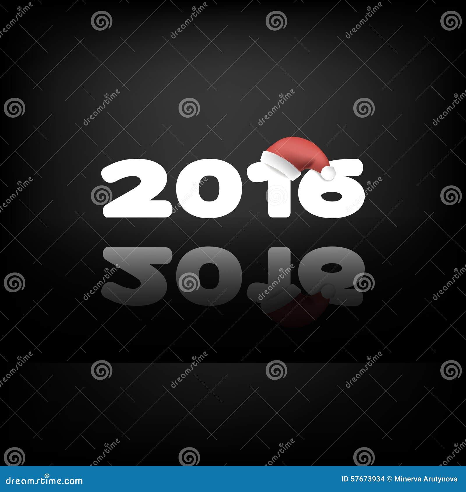 2016 na czarnym tle z Santa odbiciem i kapeluszami