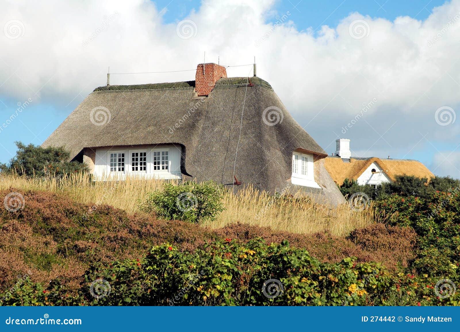 Na dachu domu 3 powlekane strzechą